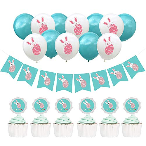 QLINLEAF 19pcs Easter/Birthday/Spring Party Decorated Balloons Set, Bunny Pattern Latex Balloons12 &Banner1 &Cake Topper6 Indoor/Outdoor Supplies Blue