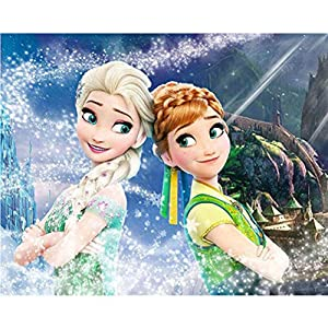 DIY 5D Diamond Painting Kits, Full Drill Crystal Rhinestone Diamond Embroidery Paintings Pictures, Household Arts Craft for Adults-Disney Frozen Elsa 12X 16 Inch