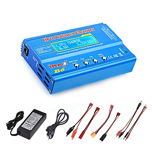 - Haisito 80W 6A Lipo Battery Balance Charger Discharger for LiPo/Li-ion/Life/LiHV Battery (1-6S), NiMH/NiCd (1-15S), Rc Hobby Battery Balance Charger LED W/AC Power Adapte (B6-Blue)