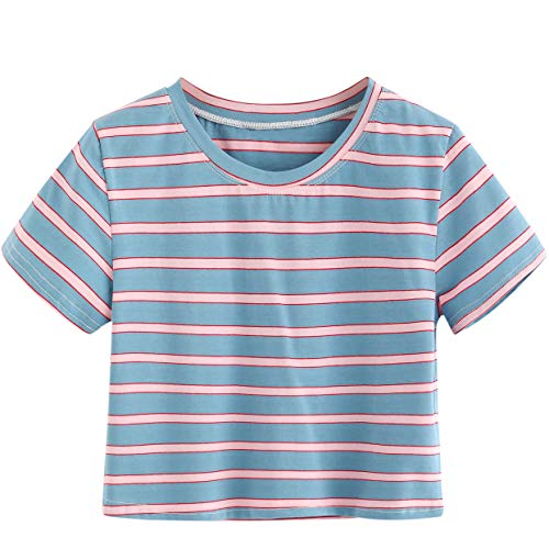 SweatyRocks Women's Short Sleeve Striped Crop T-Shirt Casual Tee Tops (Small, Blue)