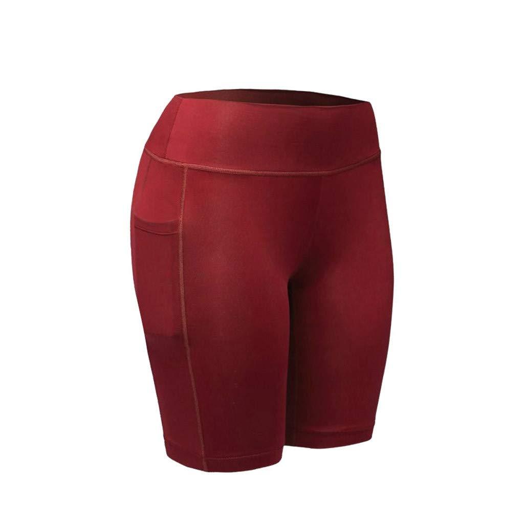 NUWFOR Women's High Waist Yoga Pants Pockets Tummy Workout Running Sports Shorts Pants(Wine,XS US Waist:25.9'')