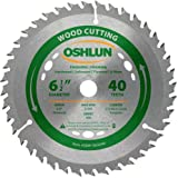 Oshlun SBW-065040 6-1/2-Inch 40 Tooth ATB Finishing and Framing Saw Blade with 5/8-Inch Arbor (Diamond Knockout)
