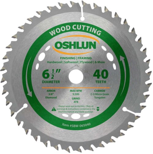 - Oshlun SBW-065040 6-1/2-Inch 40 Tooth ATB Finishing and Framing Saw Blade with 5/8-Inch Arbor (Diamond Knockout)
