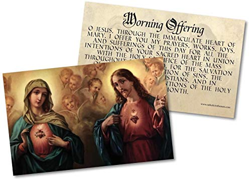 Morning Offering with Sacred and Immaculate Hearts Holy Card Paper Pack of 50