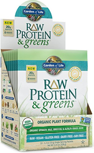 Garden of Life Organic Greens and Protein Powder - Raw Protein and Greens with Probiotics/Enzymes, Vegan, Light Sweet, 10 Count Tray