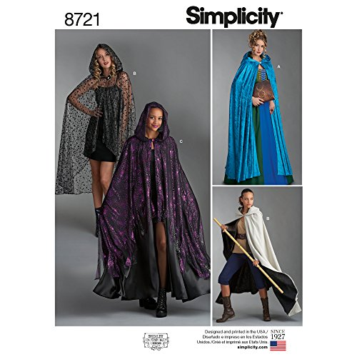 Simplicity 8721 Women's Cape Costume Sewing Pattern, One