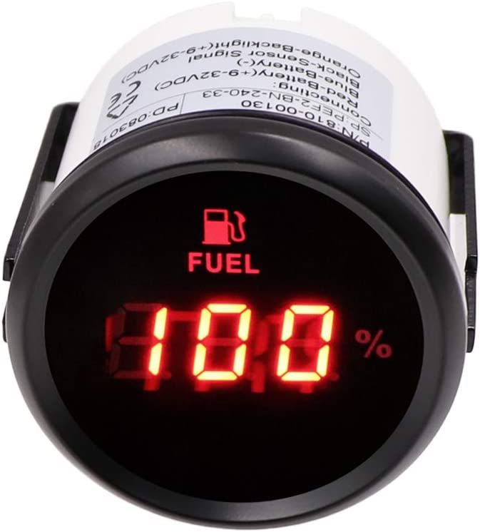 Marine Fuel Level Gauge, 240~33ohm Oil Tank Level Indicator Digital Fuel Level Meter Waterproof with Red Backlight for Car Boat Yacht 52mm 12/24V