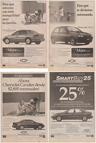 Cavalier Sedan - 1998 CHEVROLET CAVALIER SEDAN & COUPE, CHEVY 2-DOOR LOT of 4 LARGE VINTAGE NEWSPAPER NON-COLOR AD ADS - MEXICO - NICE !!