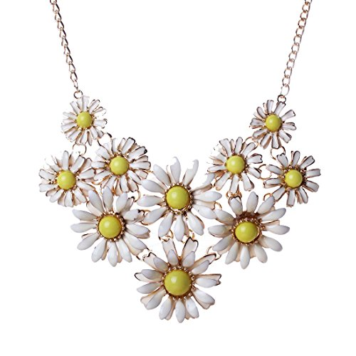 White Daisy Flower Cluster Bib Pendant Golden Chain Choker V Collar Necklace