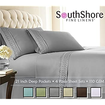 Southshore Fine Linens 4 Piece 21 Inch Deep Pocket Sheet Set With  Beautiful Lace   STEEL GRAY   King