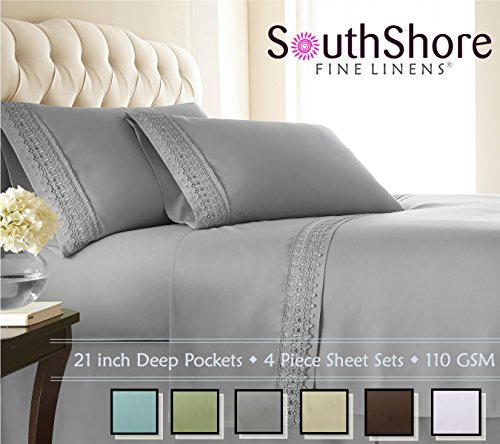 Southshore Fine Linens 4-Piece 21 Inch Deep Pocket Sheet Set with Beautiful Lace - Steel Gray - Queen