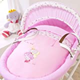 izziwatnot Lottie Fairy Princess Wicker Moses Basket Light 100% Cotton Cotbed Nursery Collections