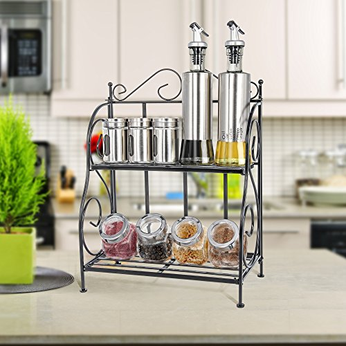 Packism 2 Tier Spice Rack, Bathroom Cans Foods Shelf Storage Rack for Kitchen Countertop Jars Storage Organizer Foldable Storage Shelving, Black