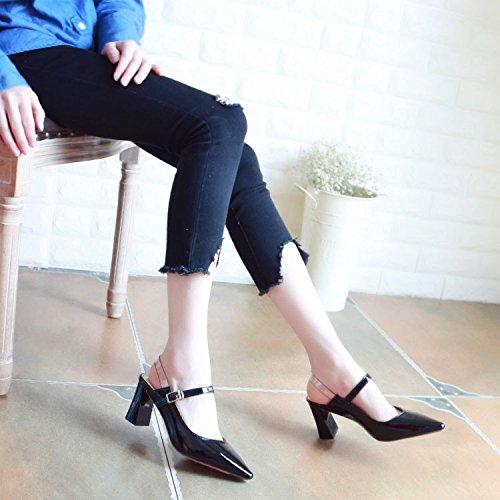 Black À Épais Talons Zhudj Printemps Au Chaussures faY6wqwF