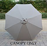 9ft Market Umbrella Replacement Canopy 8 Ribs Taupe (Canopy Only) For Sale