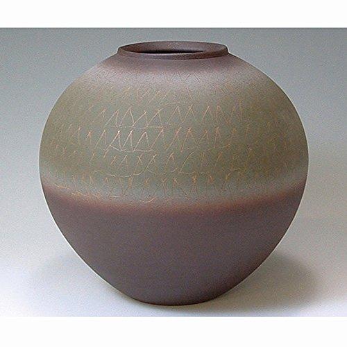 京焼清水焼 陶器 花器 花瓶 黒雍彩紋 木箱入 Kiyomizu-kyo yaki ware. Japanese ceramic Ikebana flower vase. Kokuyo saimon. B0793R17N8
