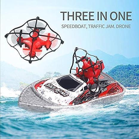 ouweish 3 en 1 Vuelo del Coche del Barco lancha rápida Drone ...