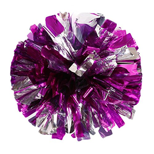 Iuhan Christmas Metallic Foil And Plastic Ring Handheld Pom Poms Cheerleading Party Decor (Hot - Christmas Icicles For Foil Tree
