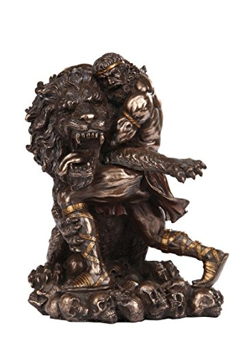 Heracles Wrestling Nemean Lion Sculpture King Eurystheus Resin Figurine by Figurine