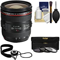 Canon EF 24-70mm f/4L IS USM Zoom Lens with 3 UV/ND8/CPL Filters + Kit for EOS 6D, 70D, 7D 5D Mark II III, Rebel T3, T3i, T5, T5i, SL1 DSLR Camera