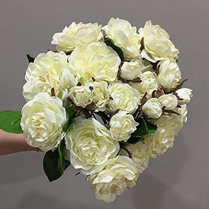 Bouquet Sposa Rose Avorio.Mamadolls Seta Nuziale Bouquet Di Fiori Artificiali Rosa Avorio Da