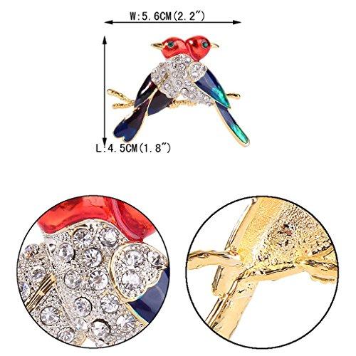 EVER FAITH® Femme Cristal Email Multicolore 2 Oiseau Broche Pin Clair Plaqué Or N08018-1