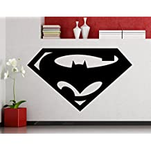 Batman and Superman Logo Wall Decal Superhero Sticker Dark Knight Comics Art Home Decoration Any Room Waterproof Sticker (27su)
