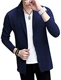 Men's Light Weight Fine Line Knit Solid Shawl Collar Cardigan Sweaters