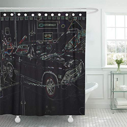Semtomn Shower Curtain Chevy Chevelle Super Sport Land 72