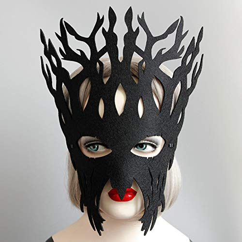 Black Clay Mask - Beauty Christmas Party Mask Big Tree Felt Vintage Black Face Masquerade Hallowma Cosplay - Party Mask Felt Vintage Toys Party Masks Face Mask Chinese Wooden Latex Black Clay Pap ()