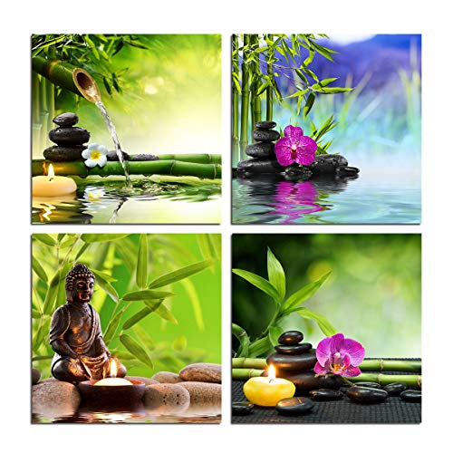 Zen Garden Wall Art Canvas - Spa Green Bamboo leaves Purple Orchid Stones Flowers Water Buddha Poster Aromatic Candle Still Life Home Decoration Yoga Modern Decor 4 Pieces Artwork Print Unframed from BLUE RED CYAN