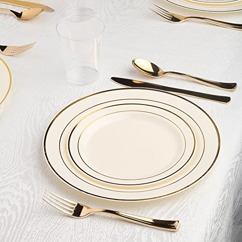 Kaya Collection - Bone and Gold Disposable Plastic Dinnerware Party Package - 20 Person Package - Includes Dinner Plates, Salad/Dessert Plates, Gold Cutlery and (Bone Package)