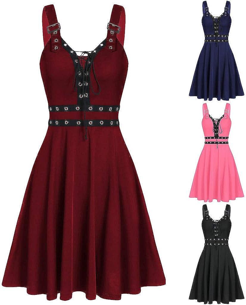 Dainzuy Women Steampunk Gothic Victorian Long Maxi Dresses Sleeveless Cosplay Irregular Hem Camisole Mini Dress