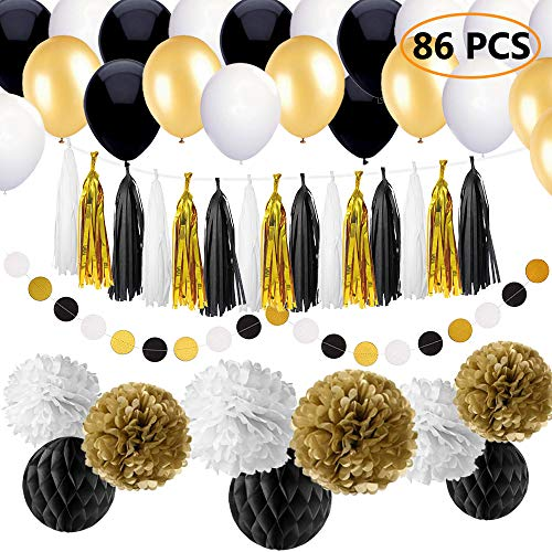 SIMPZIA 86 pcs Black and Gold Party Decorations Kit Birthday Party Supplies for Adults 25th, 30th, 40th, 50th, 55th, 60th, 70th & Other Occasions Like Wedding,Anniversary,Engagement,Baby Shower(DIY)]()
