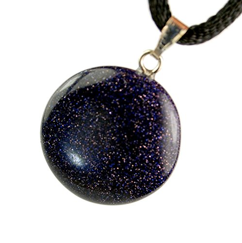 - Celestial Collection - 20mm Full Moon Disc Galaxy Goldstone Black Blue Sparkle, 20