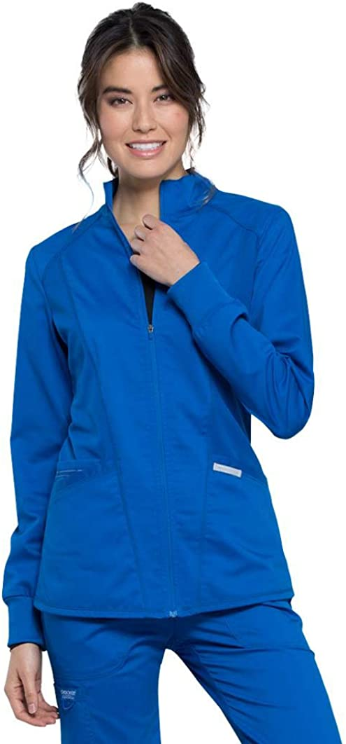 CHEROKEE Workwear WW Revolution Zip Front High-Low Jacket WW301: Clothing
