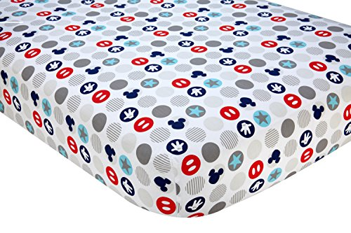 Disney Baby Mickey Mouse Best Buddies 100% Cotton Fitted Crib Sheet, Multi (Sheets Bed Mickey Toddler Mouse)