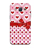 Samsung Galaxy V2, Samsung Galaxy J1 Mini Prime (2016) Back Cover, Samsung Galaxy J1 Mini Prime (2016) Back Case Pink Hearts In Circles With Polka Dots And Bow Design From Printvisa