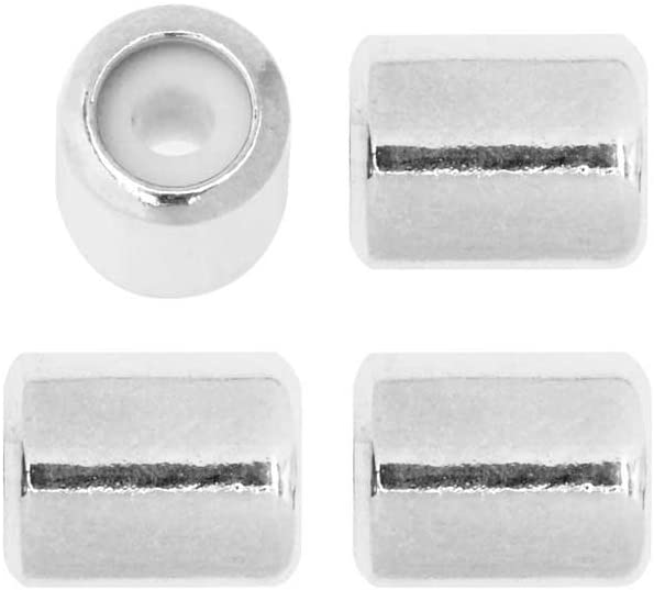 Sterling Silver Sliding End Bead with Silicone 5 pcs