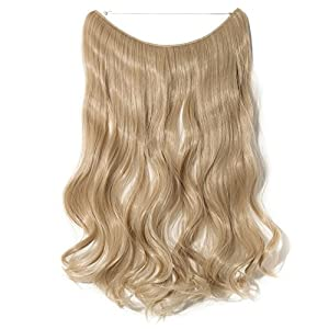 "Women Rubber Band Full Head Hair Extensions 20"" 90G Curly Wave Brown Blonde Natural Synthetic Wire In Hair extension Secret Inside Fish Line Hairpieces No Clip (Ark Blonde mix Bleach Blonde)"
