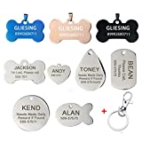 iMucci Custom Stainless Steel Pet ID Tags Front and Back Engraved Dog Tags Personalized for Dogs and Cats
