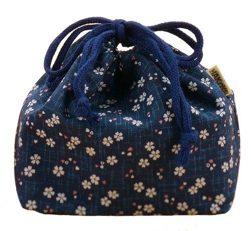 Hakoya Japanese Pattern Pouch Bag (Kinchaku) 'Konzakura' from Ya Tatsumi