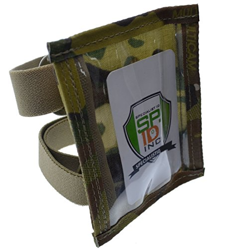 Specialist ID Ultimate Military Armband ID Badge Holder - Heavy Duty Nylon I.D Card Holder with Two Adjustable Elastic Bands - Made in The USA (Multi-Cam)