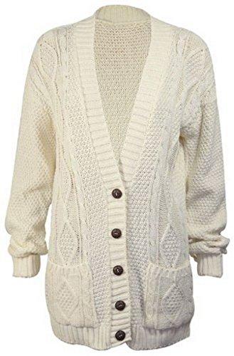 tasche lavorato 56 e 38 Cream bottoni modello con Hot a maglia cardigan da donna look taglia largo qIxvSF4w