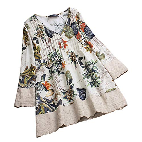 (TOTOD Women Tops! Plus Size Womens Vintage Floral Print Patchwork 3/4 Sleeve Long Sleeves Blouses Top Shirt)