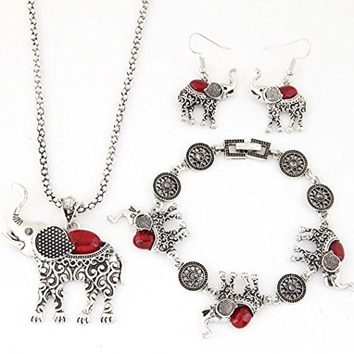 START New Women 1Set Vintage Elephant Necklace+Earrings+Bracelet Jewelry Set (Red ) (Red Elephant Necklace compare prices)