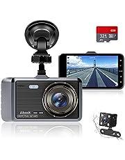 """Autocamera, Abask Dash Cam 4 """"Full HD 1080P Nachtzicht, 170 ° Groothoek Voor- en Achtercamera Met G-sensor, WDR, Lusopname, Parkeermonitor, Bewegingssensor"""
