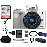 Canon EOS M50 Mirrorless Digital Camera with 15-45mm Lens -White (USA Warranty) Bundle, Includes: 64GB SDXC Class 10 Memory Card + LED Light + Full Size Tripod + Spare Battery + more