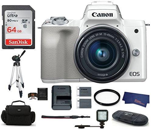 Canon EOS M50 Mirrorless Digital Camera with 15-45mm Lens -W