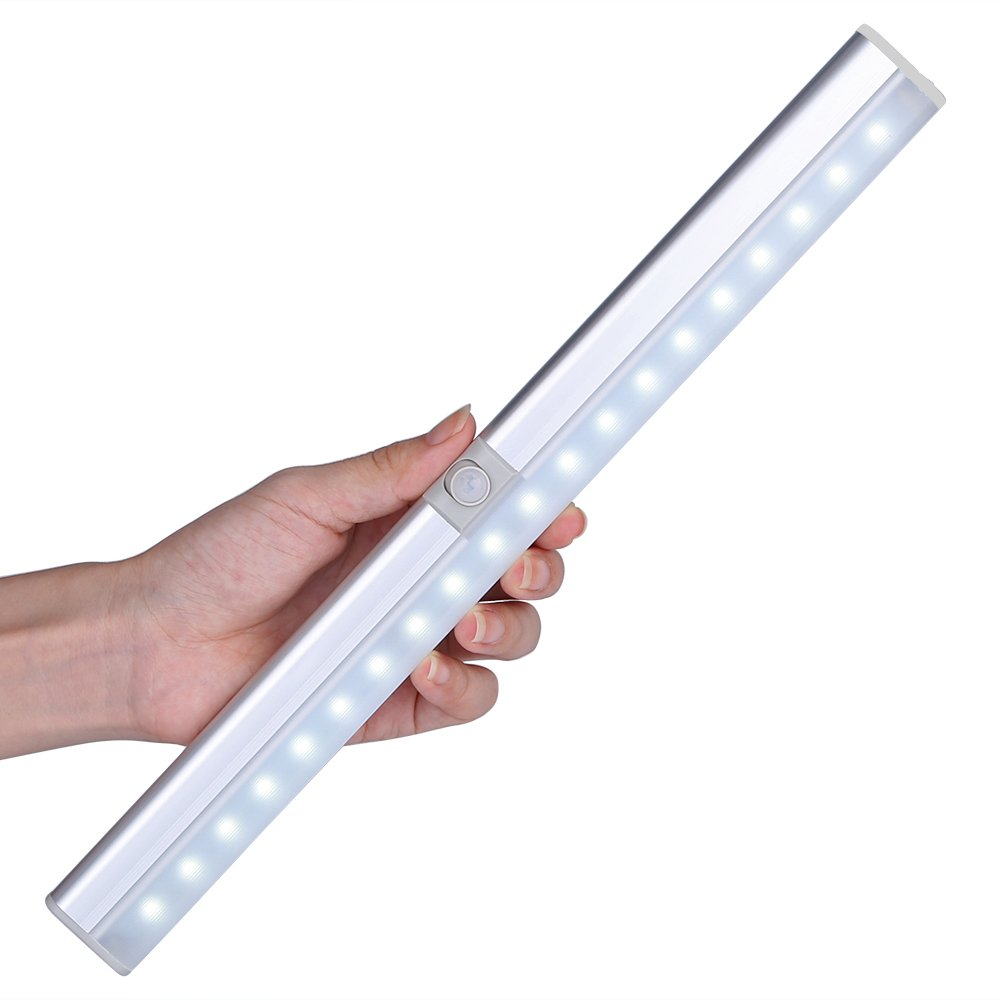 Closet Light, LOFTER Rechargeable 20-LED Wireless PIR Motion Activated Stick on Cupboard Light/Kitchen Cabinet/Wardrobe/ Hallway/Light Bar with Adjustable Sensor and Auto On/Off Switch